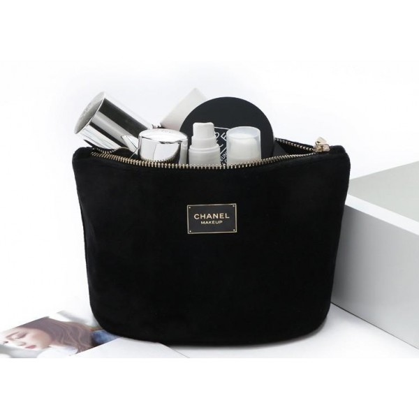 fa9ce1997e86 CHANEL Black Velvet Makeup Bag with Gold Chain Cosmetic Pouch VIP Gift