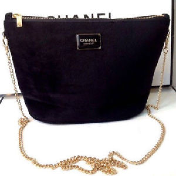 cf2d6182e40e CHANEL Black Velvet Makeup Bag with Gold Chain Cosmetic Pouch VIP Gift