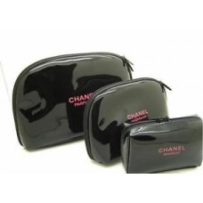 22b9e9399b9835 Chanel Beauty Beaute Make Up Bag Parfum Makeup Case black bags VIP gift 3  Pcs