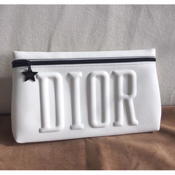 Dior White Cosmetic Makeup Bag Pouch