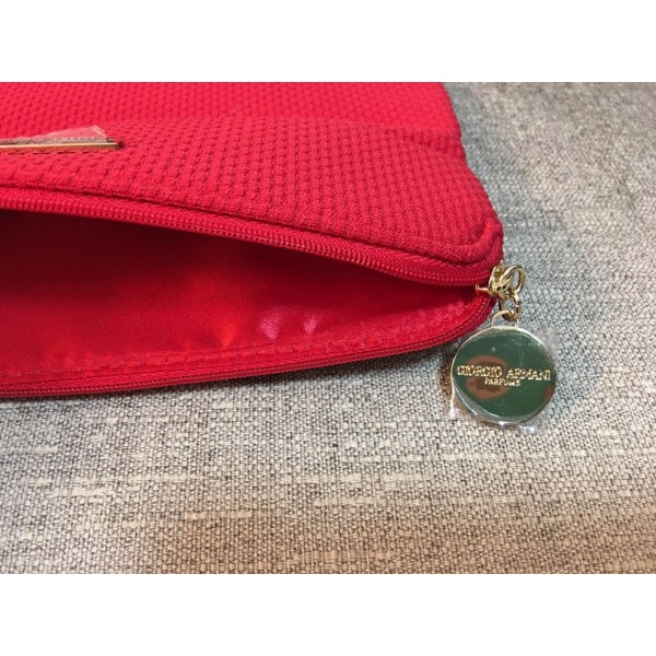 b90a8d6a84bb GIORGIO ARMANI Red Make Up Cosmetic Bag Party Clutch Pouch
