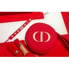 New Gift Dior Red Round Cosmetic Bag Super Hot Clutch Bag Free Shipping