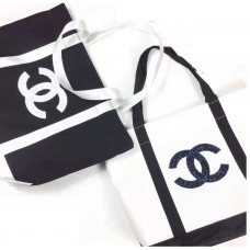 Chanel White Canvas Tote Bag With Black / White Shiny Logo