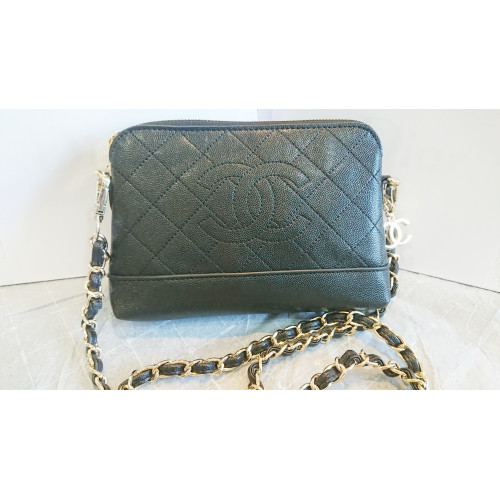 Chanel VIP Gfit Black Leather Crossbody / Clutch Bag With Gold Color Chain
