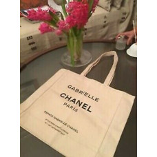 Chanel Espace Gabrielle White Canvas Shopping Tote VIP Gift Large Bag
