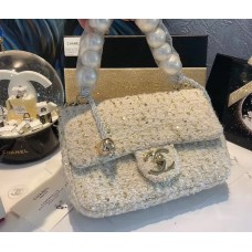 CHANEL BEAUTÉ GIFT - White small flap bag with Pearls & Gold-Tone Metal