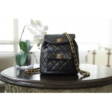 CHANEL BEAUTÉ GIFT - Black Lambskin Backpack with Gold-Tone Metal