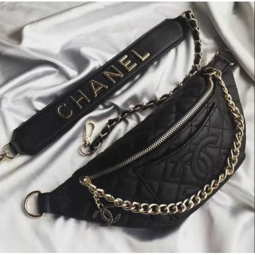 Chanel quilted black leather waist bag