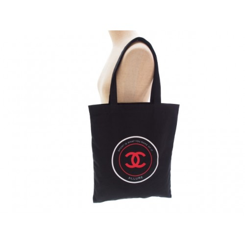 Chanel SPORT IS WHAT YOU MAKE OF IT novelty rouge ALLURE black canvas tote bag