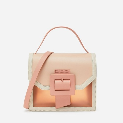 Charles & Keith See-Through Effect Buckled Bag - ( Nude )
