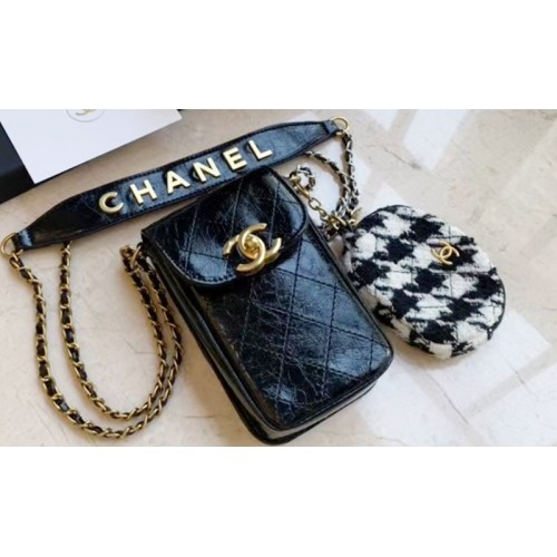 Chanel Makeup Black Leather Cell Phone Crossbody Bag With Coin Case Gift