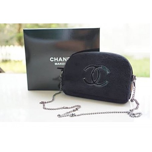 Black Fur Crossbody Bag with Sliver Chain /  Makeup Bag