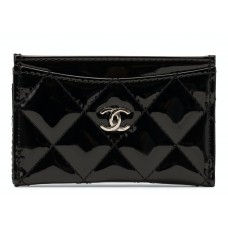 Chanel Card Holder Quilted Patent Black