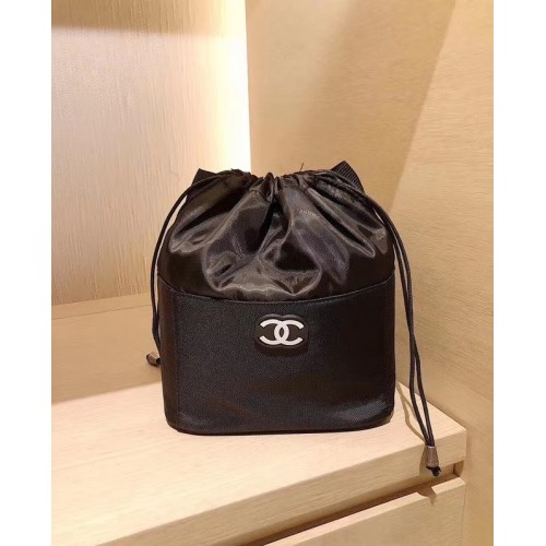 Chanel Black Canvas Cosmetic Bag Pouch