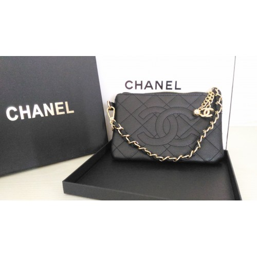 NEW CHANEL Gift Black Clutch Wallet Hand Bag