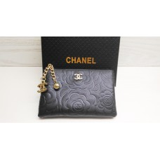 NEW CHANEL Gift Black Camellia Coin Pouch Hand Bag