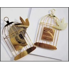 Coco CHANEL Mademoiselle Paris Magnetic Brooch Pin Gold Plated Bird & Cage VIP Gift