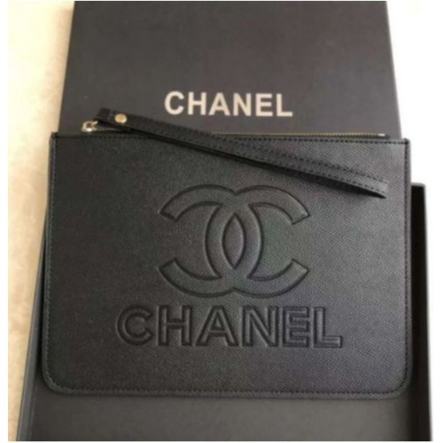 CHANEL VIP Gift Black Clutch Wallet Hand Bag - Large