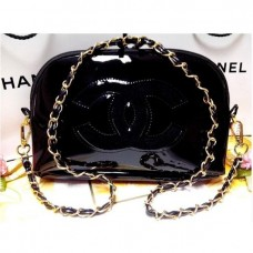 Black CC Patent Shoulder Bag with Gold Chain
