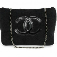 2d06e31dad6b3f Chanel VIP Gift Presision Black Plush Velour Makeup Bag