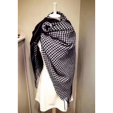 CLEARANCE - ( DEFECT ITEM ) Chanel Vip Gift Black / White Scarf Wrap With Camellia Pin
